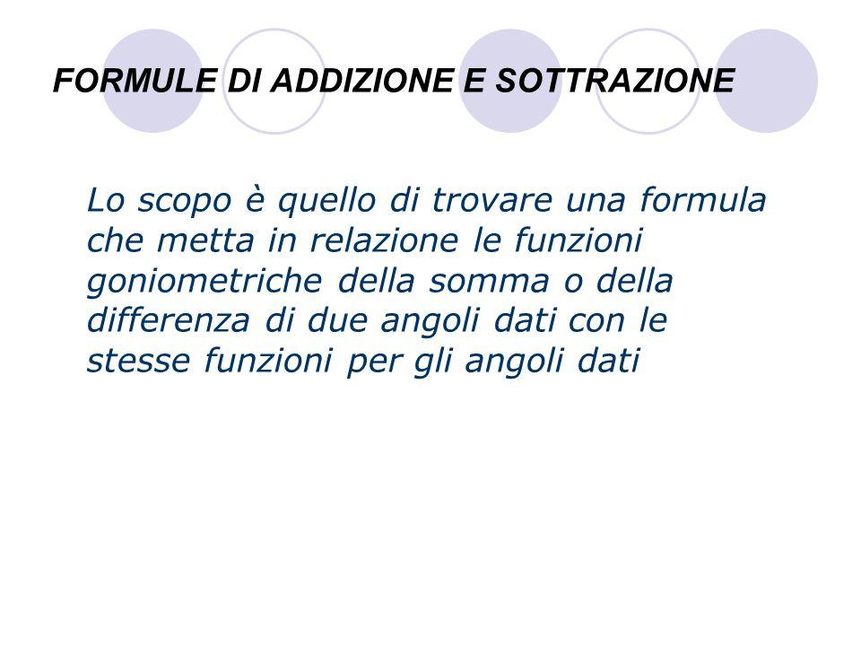 FORMULE DI ADDIZIONE E SOTTRAZIONE Lo scopo è quello di trovare una formula che metta in relazione le funzioni goniometriche della somma o della diffe