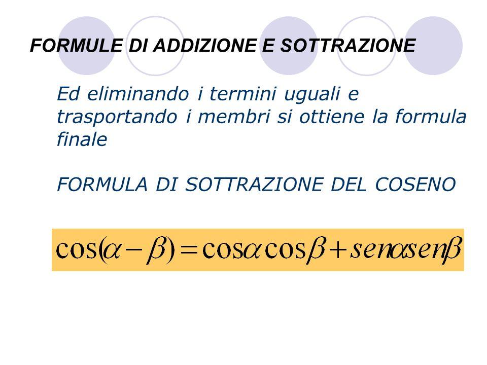 FORMULE DI ADDIZIONE E SOTTRAZIONE Ed eliminando i termini uguali e trasportando i membri si ottiene la formula finale FORMULA DI SOTTRAZIONE DEL COSE