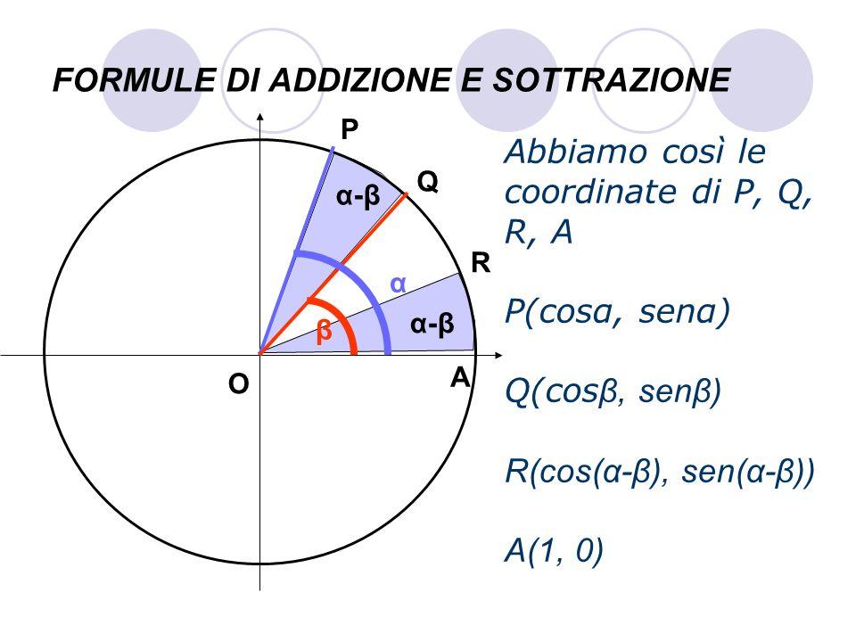 FORMULE DI ADDIZIONE E SOTTRAZIONE Abbiamo così le coordinate di P, Q, R, A P(cosα, senα) Q(cos β, senβ) R(cos(α-β), sen(α-β)) A(1, 0) P Q A O α β R α