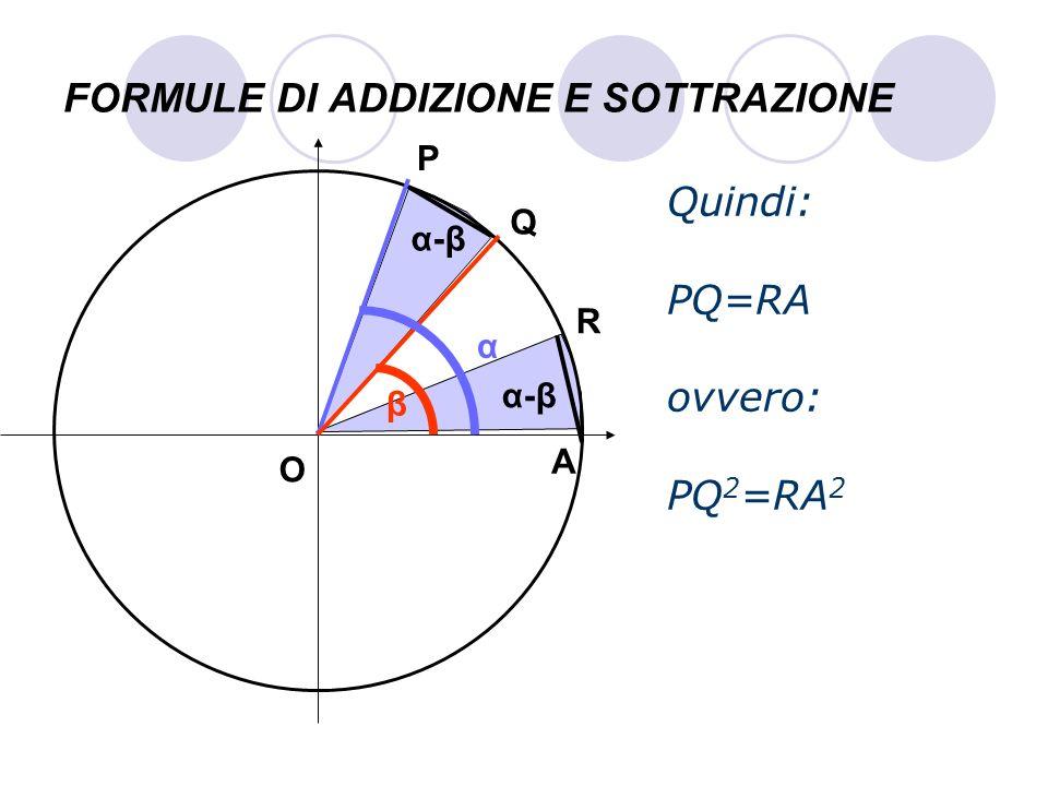 FORMULE DI ADDIZIONE E SOTTRAZIONE Quindi: PQ=RA ovvero: PQ 2 =RA 2 P Q A O α β R α-βα-β α-βα-β