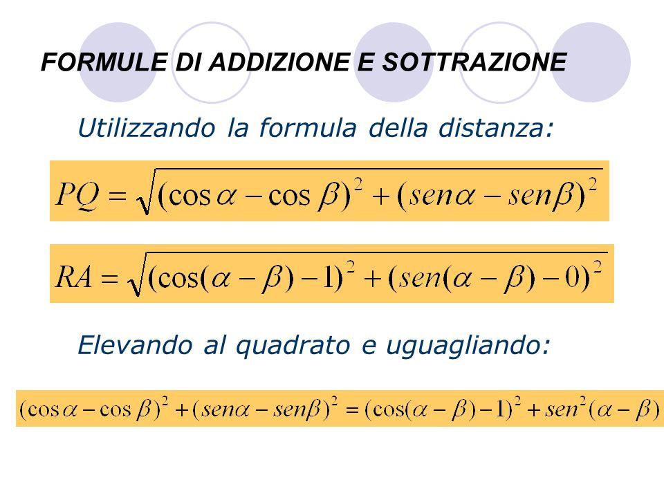 FORMULE DI ADDIZIONE E SOTTRAZIONE Sviluppando i quadrati: e usando la prima relazione: