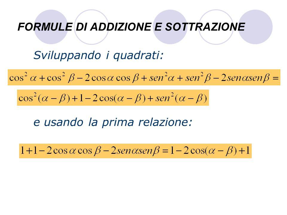 FORMULE DI ADDIZIONE E SOTTRAZIONE Ed eliminando i termini uguali e trasportando i membri si ottiene la formula finale FORMULA DI SOTTRAZIONE DEL COSENO