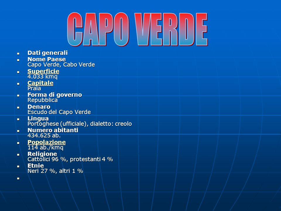Dati generali Dati generali Nome Paese Capo Verde, Cabo Verde Nome Paese Capo Verde, Cabo Verde Superficie 4.033 kmq Superficie 4.033 kmq Superficie C