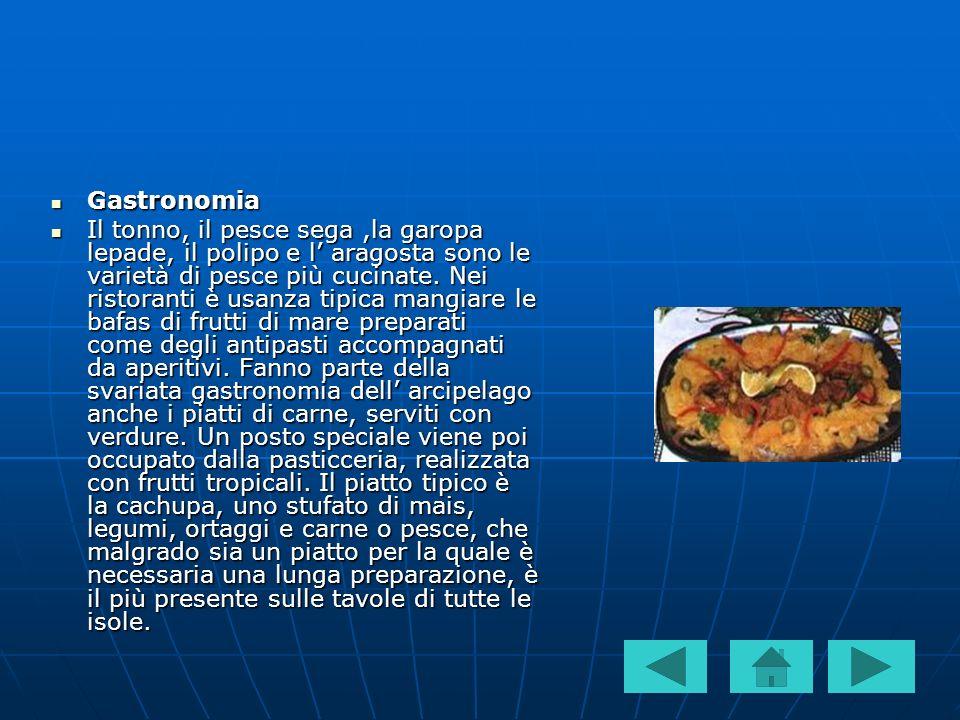 Gastronomia Gastronomia Il tonno, il pesce sega,la garopa lepade, il polipo e l aragosta sono le varietà di pesce più cucinate. Nei ristoranti è usanz