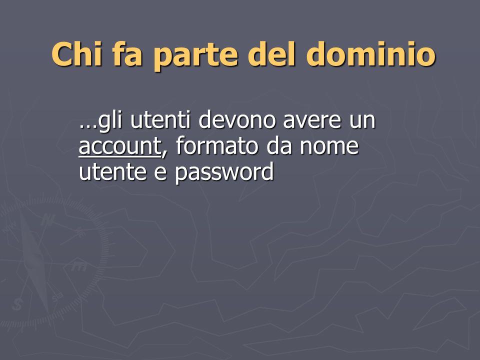 Chi fa parte del dominio …gli utenti devono avere un account, formato da nome utente e password