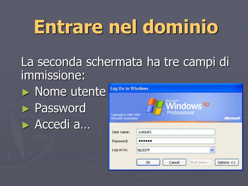 Entrare nel dominio La seconda schermata ha tre campi di immissione: Nome utente Nome utente Password Password Accedi a… Accedi a…