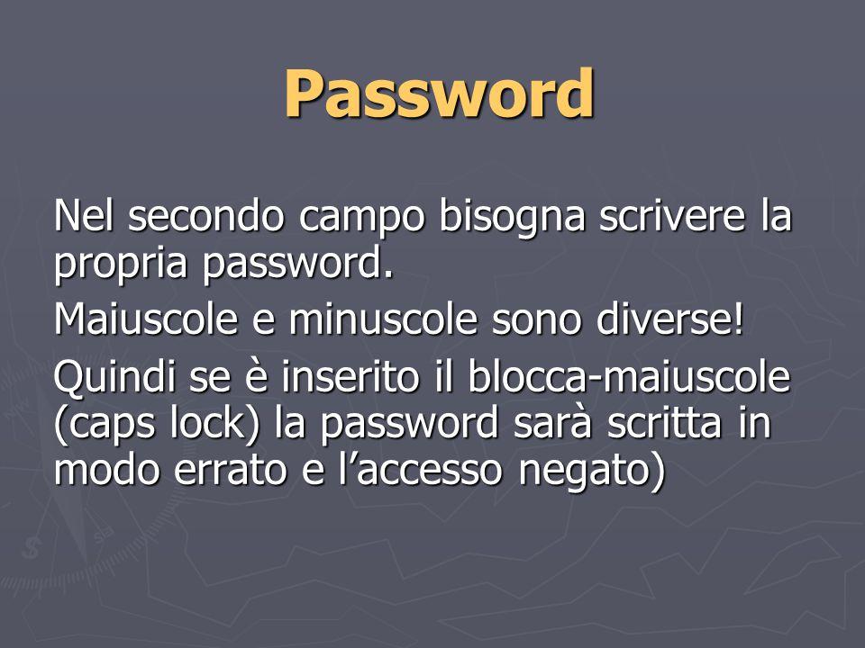 Password Nel secondo campo bisogna scrivere la propria password.