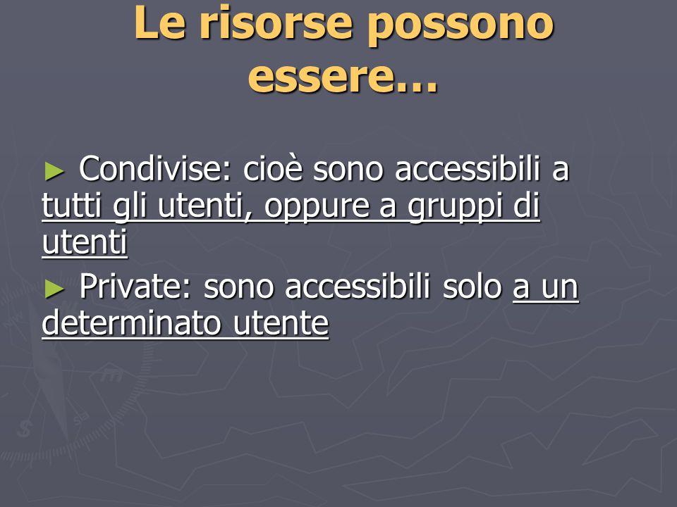 Le risorse possono essere… Condivise: cioè sono accessibili a tutti gli utenti, oppure a gruppi di utenti Condivise: cioè sono accessibili a tutti gli utenti, oppure a gruppi di utenti Private: sono accessibili solo a un determinato utente Private: sono accessibili solo a un determinato utente
