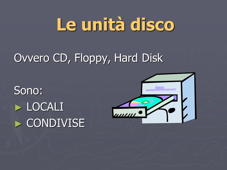 Le unità disco Ovvero CD, Floppy, Hard Disk Sono: LOCALI LOCALI CONDIVISE CONDIVISE