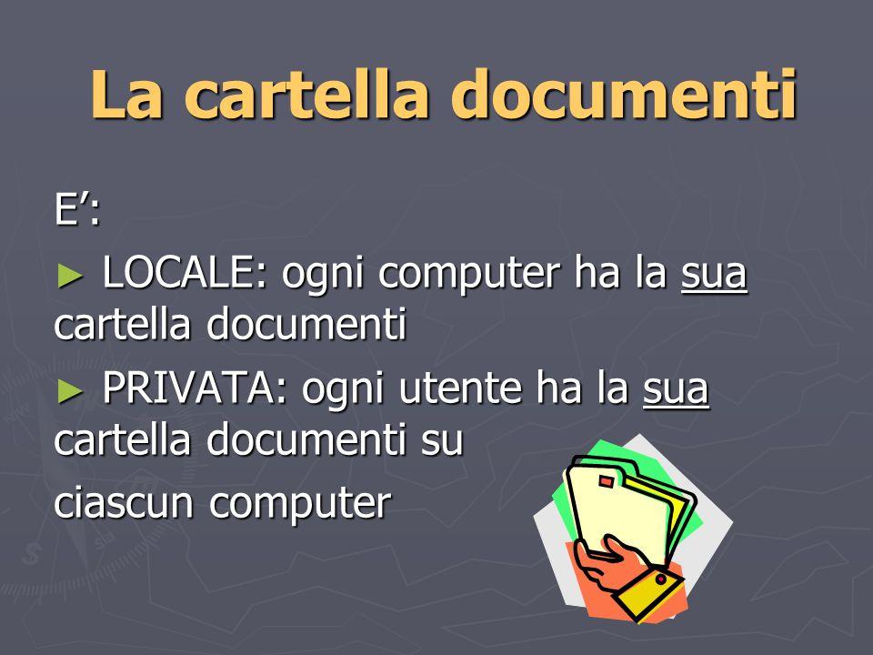 La cartella documenti E: LOCALE: ogni computer ha la sua cartella documenti LOCALE: ogni computer ha la sua cartella documenti PRIVATA: ogni utente ha la sua cartella documenti su PRIVATA: ogni utente ha la sua cartella documenti su ciascun computer