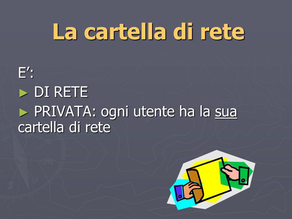 La cartella di rete E: DI RETE DI RETE PRIVATA: ogni utente ha la sua cartella di rete PRIVATA: ogni utente ha la sua cartella di rete