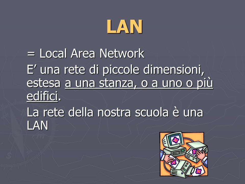 LAN = Local Area Network E una rete di piccole dimensioni, estesa a una stanza, o a uno o più edifici.