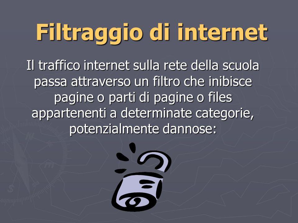 Filtraggio di internet Il traffico internet sulla rete della scuola passa attraverso un filtro che inibisce pagine o parti di pagine o files appartenenti a determinate categorie, potenzialmente dannose: