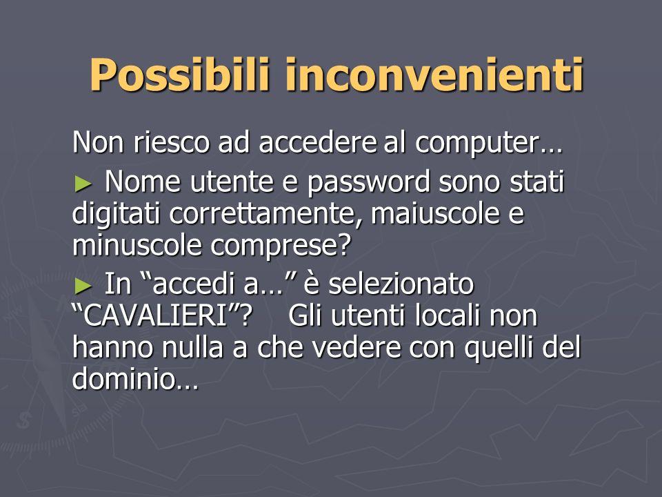 Possibili inconvenienti Non riesco ad accedere al computer… Nome utente e password sono stati digitati correttamente, maiuscole e minuscole comprese.