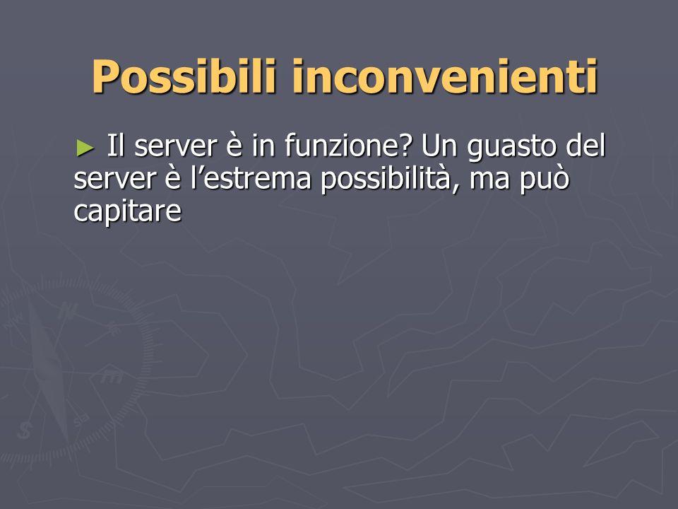 Possibili inconvenienti Il server è in funzione.