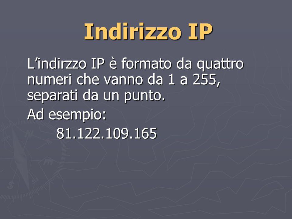 Indirizzo IP Lindirzzo IP è formato da quattro numeri che vanno da 1 a 255, separati da un punto.