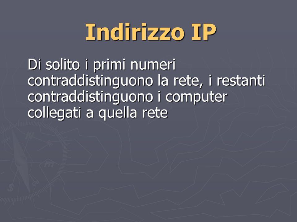 Indirizzo IP Di solito i primi numeri contraddistinguono la rete, i restanti contraddistinguono i computer collegati a quella rete