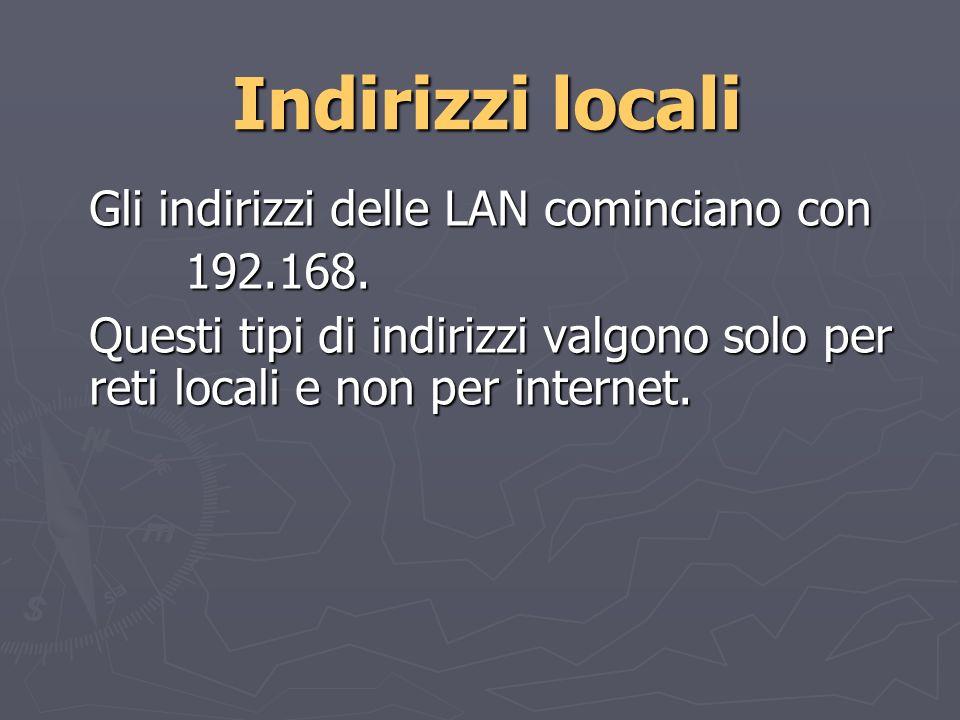 Indirizzi locali Gli indirizzi delle LAN cominciano con 192.168.