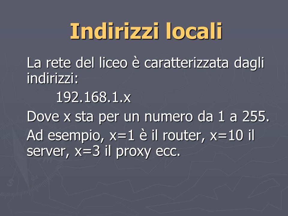 Indirizzi locali La rete del liceo è caratterizzata dagli indirizzi: 192.168.1.x Dove x sta per un numero da 1 a 255.