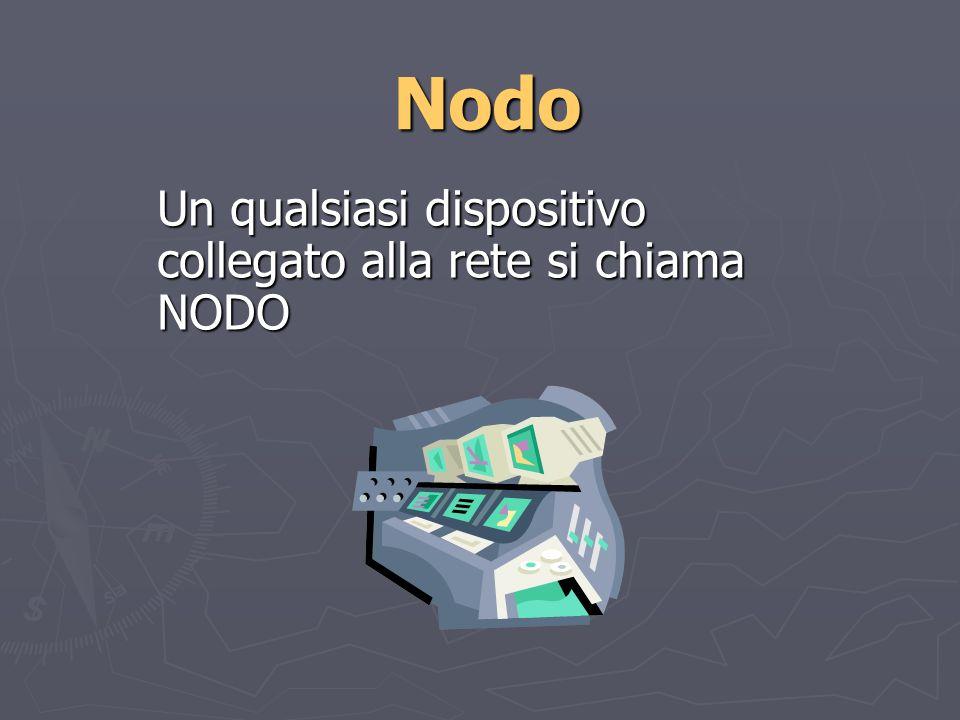 Nodo Un qualsiasi dispositivo collegato alla rete si chiama NODO