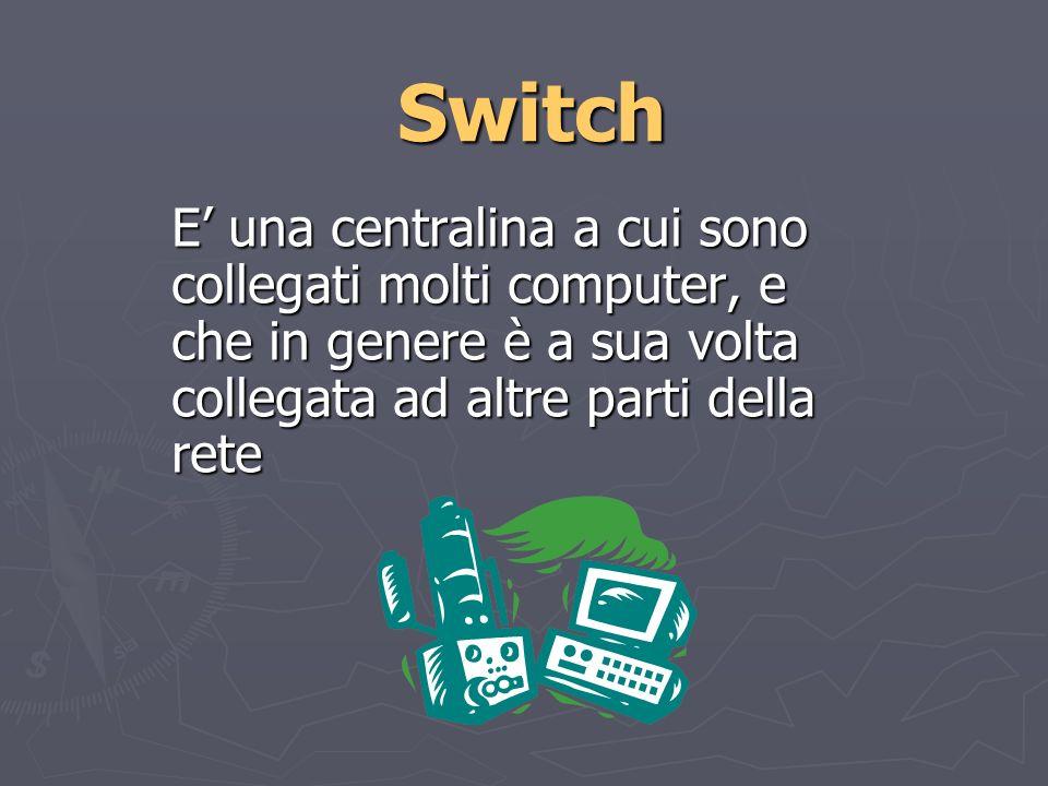Switch E una centralina a cui sono collegati molti computer, e che in genere è a sua volta collegata ad altre parti della rete