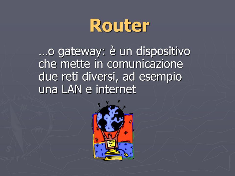 Router …o gateway: è un dispositivo che mette in comunicazione due reti diversi, ad esempio una LAN e internet