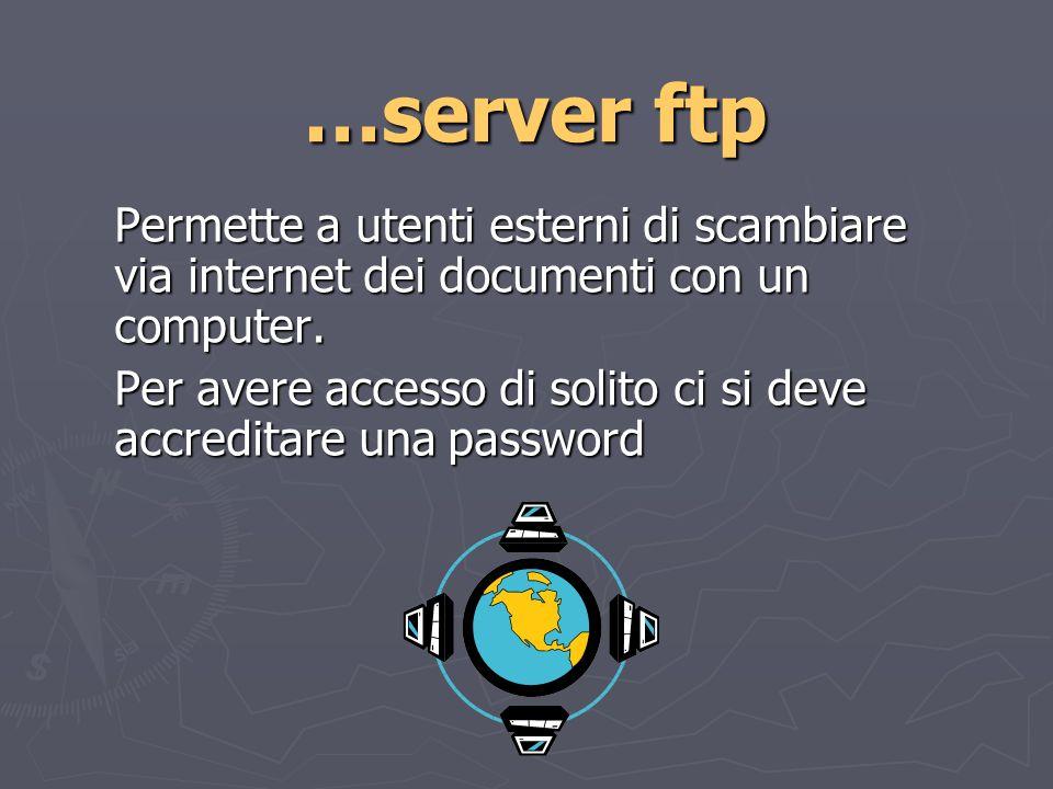 …server ftp Permette a utenti esterni di scambiare via internet dei documenti con un computer.