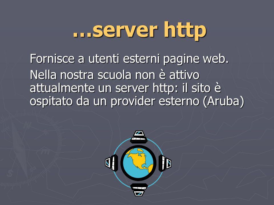 …server http Fornisce a utenti esterni pagine web.