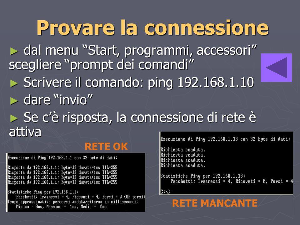 Provare la connessione dal menu Start, programmi, accessori scegliere prompt dei comandi dal menu Start, programmi, accessori scegliere prompt dei comandi Scrivere il comando: ping 192.168.1.10 Scrivere il comando: ping 192.168.1.10 dare invio dare invio Se cè risposta, la connessione di rete è attiva Se cè risposta, la connessione di rete è attiva RETE OK RETE MANCANTE