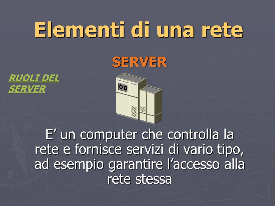 Elementi di una rete CLIENT I client sono computer della rete che ricevono le impostazioni e altri servizi dal server