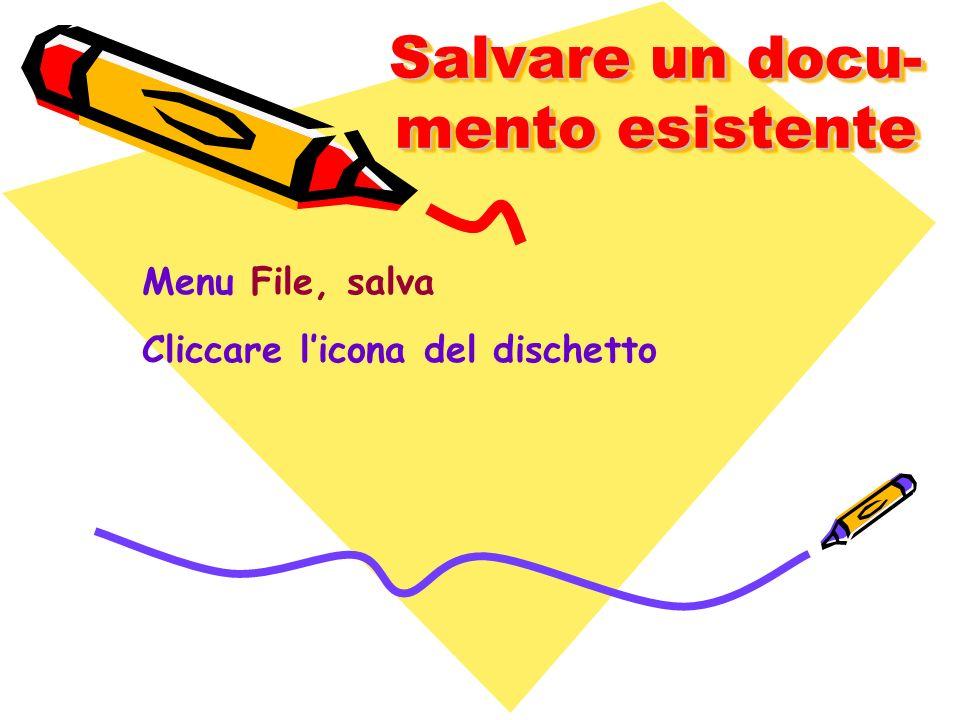 Salvare un docu- mento esistente Menu File, salva Cliccare licona del dischetto