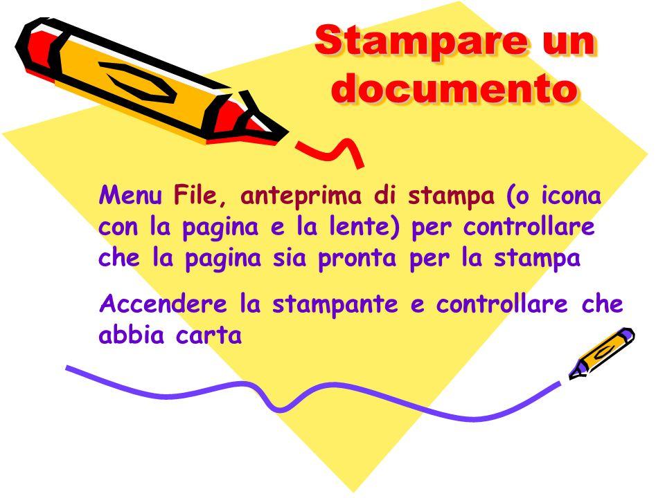 Stampare un documento Menu File, anteprima di stampa (o icona con la pagina e la lente) per controllare che la pagina sia pronta per la stampa Accende
