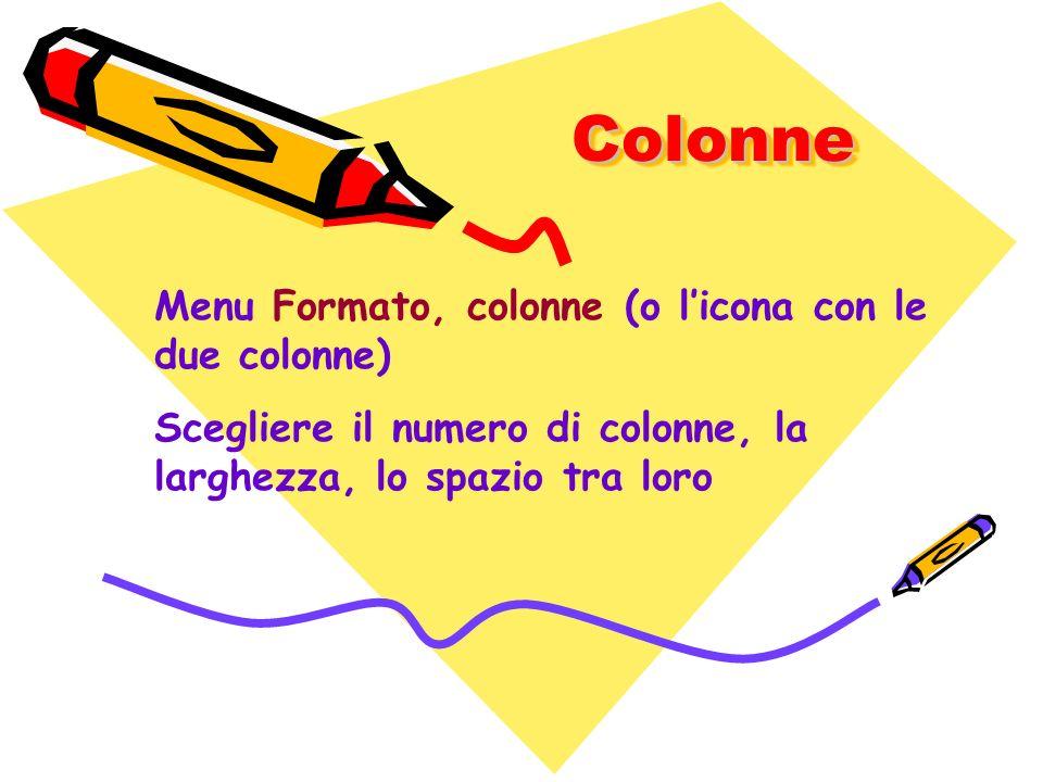 ColonneColonne Menu Formato, colonne (o licona con le due colonne) Scegliere il numero di colonne, la larghezza, lo spazio tra loro