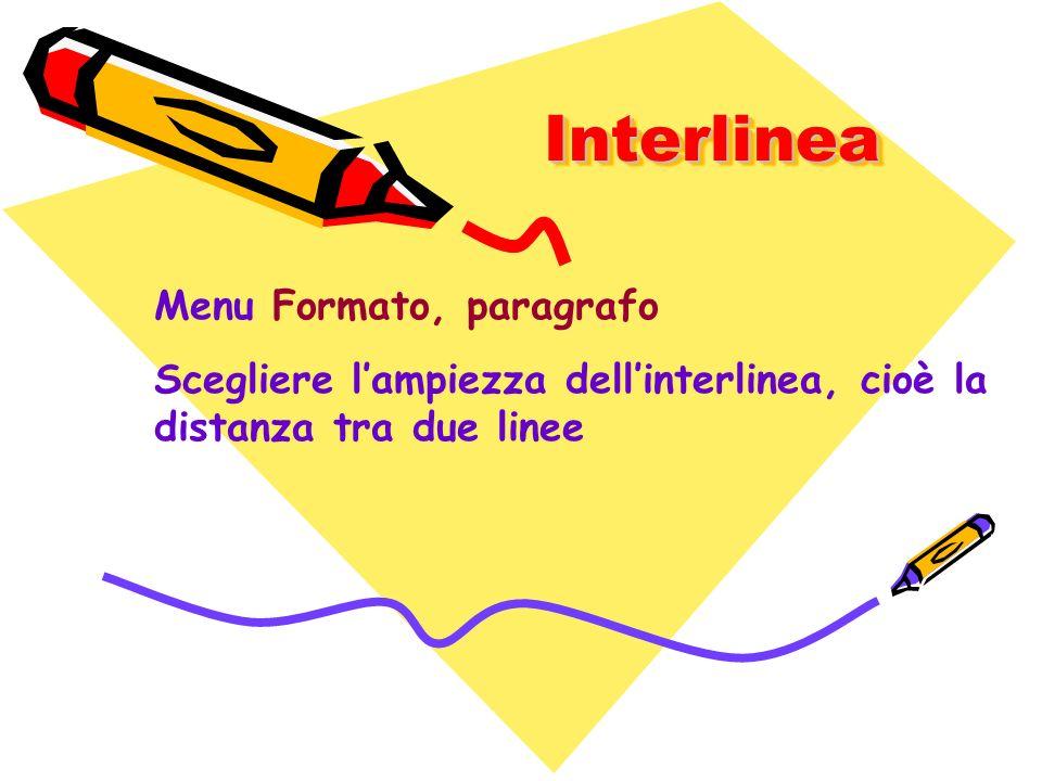 InterlineaInterlinea Menu Formato, paragrafo Scegliere lampiezza dellinterlinea, cioè la distanza tra due linee