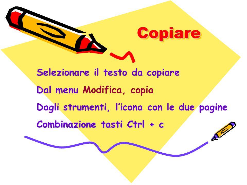 CopiareCopiare Selezionare il testo da copiare Dal menu Modifica, copia Dagli strumenti, licona con le due pagine Combinazione tasti Ctrl + c
