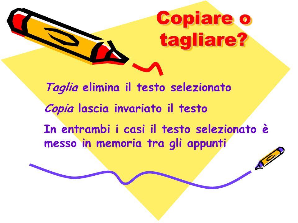 Copiare o tagliare? Taglia elimina il testo selezionato Copia lascia invariato il testo In entrambi i casi il testo selezionato è messo in memoria tra