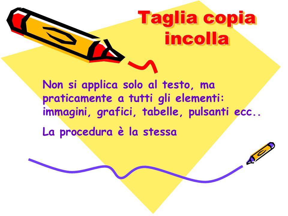 Taglia copia incolla Non si applica solo al testo, ma praticamente a tutti gli elementi: immagini, grafici, tabelle, pulsanti ecc.. La procedura è la
