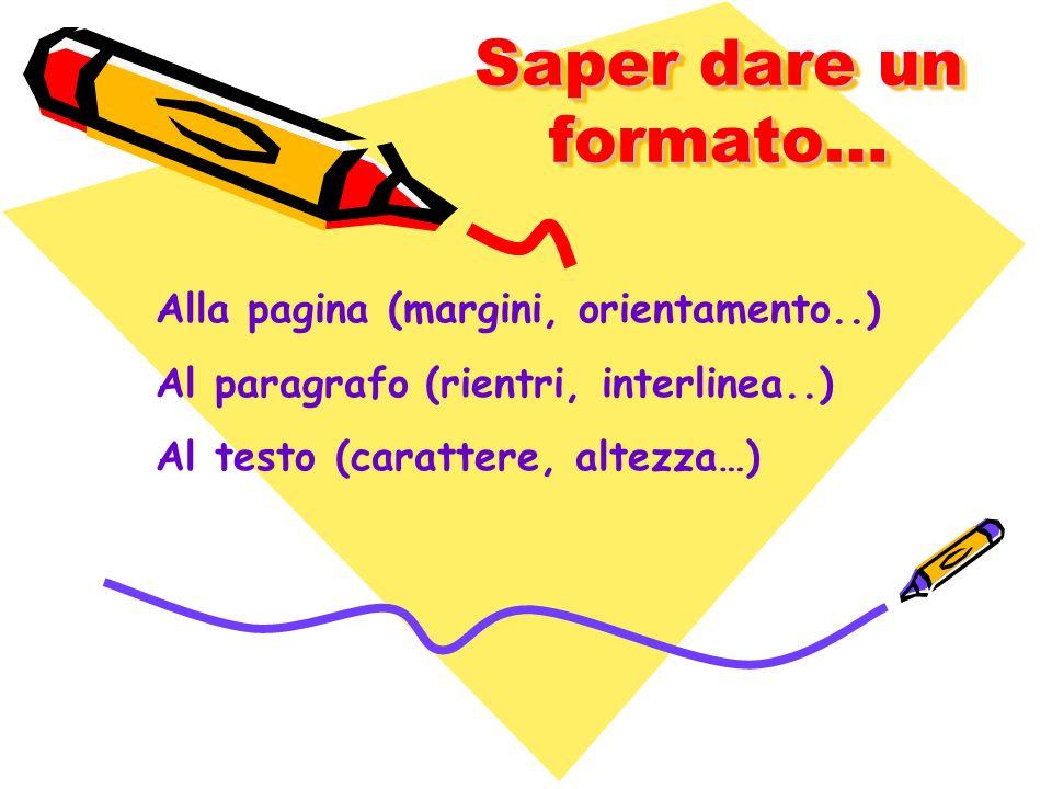 Saper dare un formato… Alla pagina (margini, orientamento..) Al paragrafo (rientri, interlinea..) Al testo (carattere, altezza…)