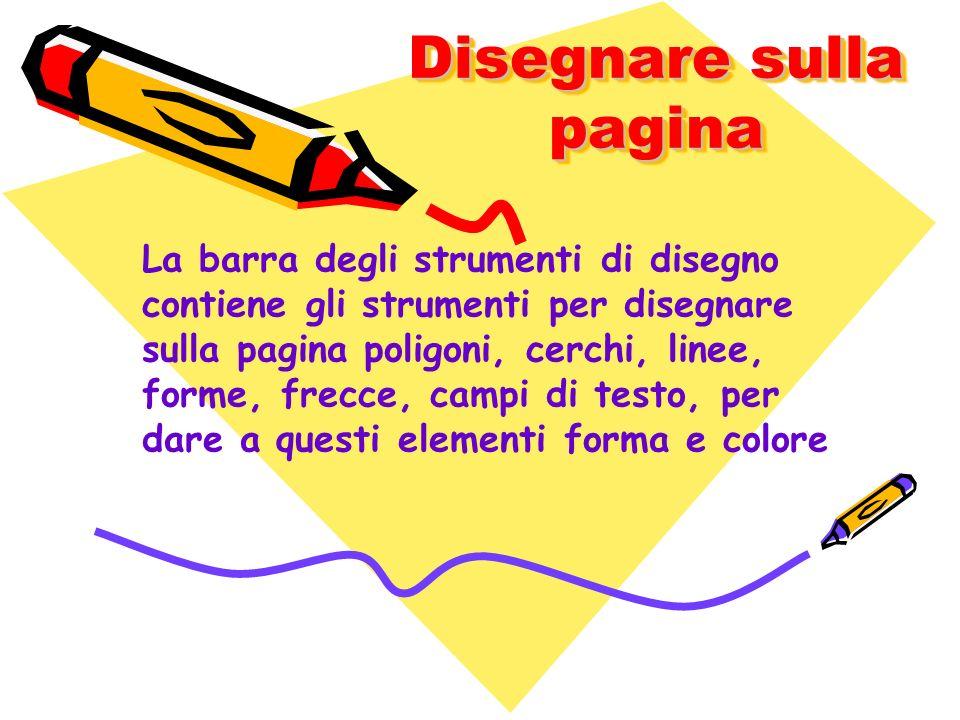 Disegnare sulla pagina La barra degli strumenti di disegno contiene gli strumenti per disegnare sulla pagina poligoni, cerchi, linee, forme, frecce, c