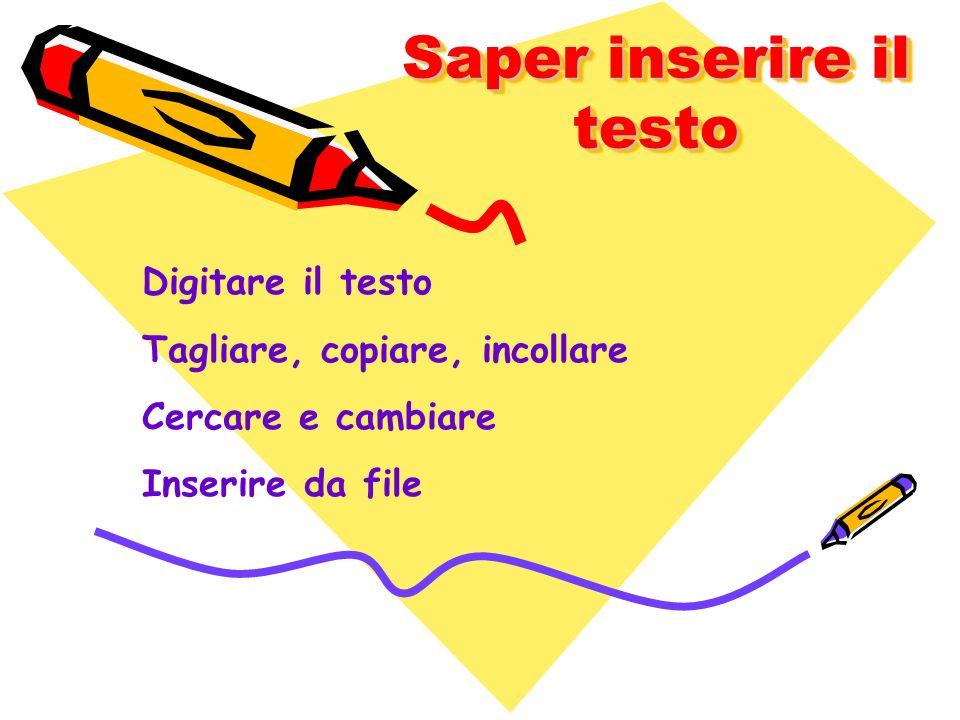Saper inserire il testo Digitare il testo Tagliare, copiare, incollare Cercare e cambiare Inserire da file