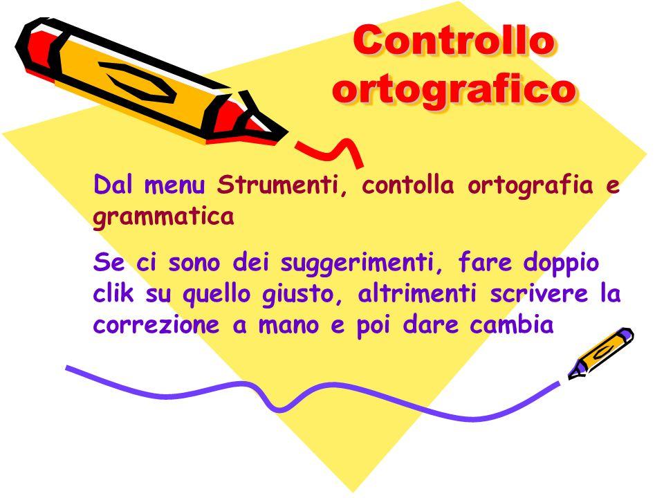 Controllo ortografico Dal menu Strumenti, contolla ortografia e grammatica Se ci sono dei suggerimenti, fare doppio clik su quello giusto, altrimenti