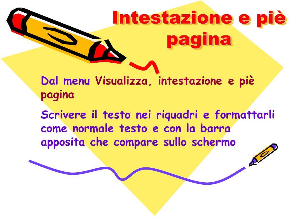 Intestazione e piè pagina Dal menu Visualizza, intestazione e piè pagina Scrivere il testo nei riquadri e formattarli come normale testo e con la barr
