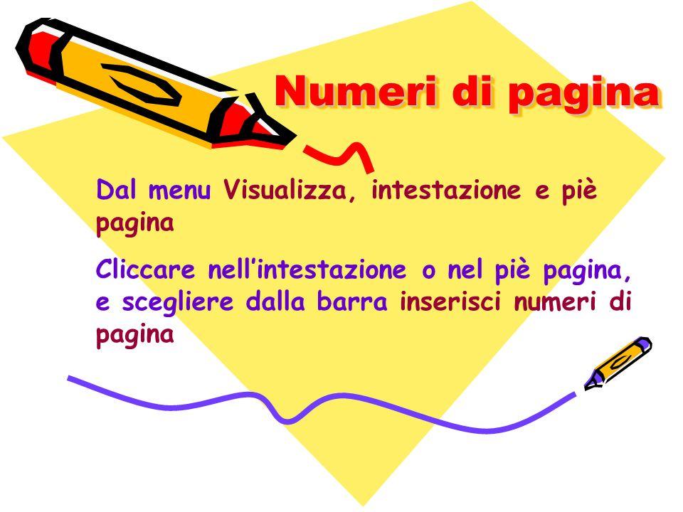 Numeri di pagina Dal menu Visualizza, intestazione e piè pagina Cliccare nellintestazione o nel piè pagina, e scegliere dalla barra inserisci numeri d