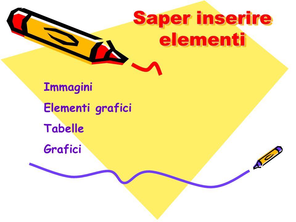 Saper inserire elementi Immagini Elementi grafici Tabelle Grafici