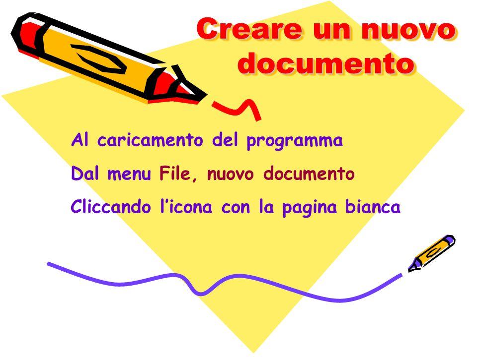 Creare un nuovo documento Al caricamento del programma Dal menu File, nuovo documento Cliccando licona con la pagina bianca