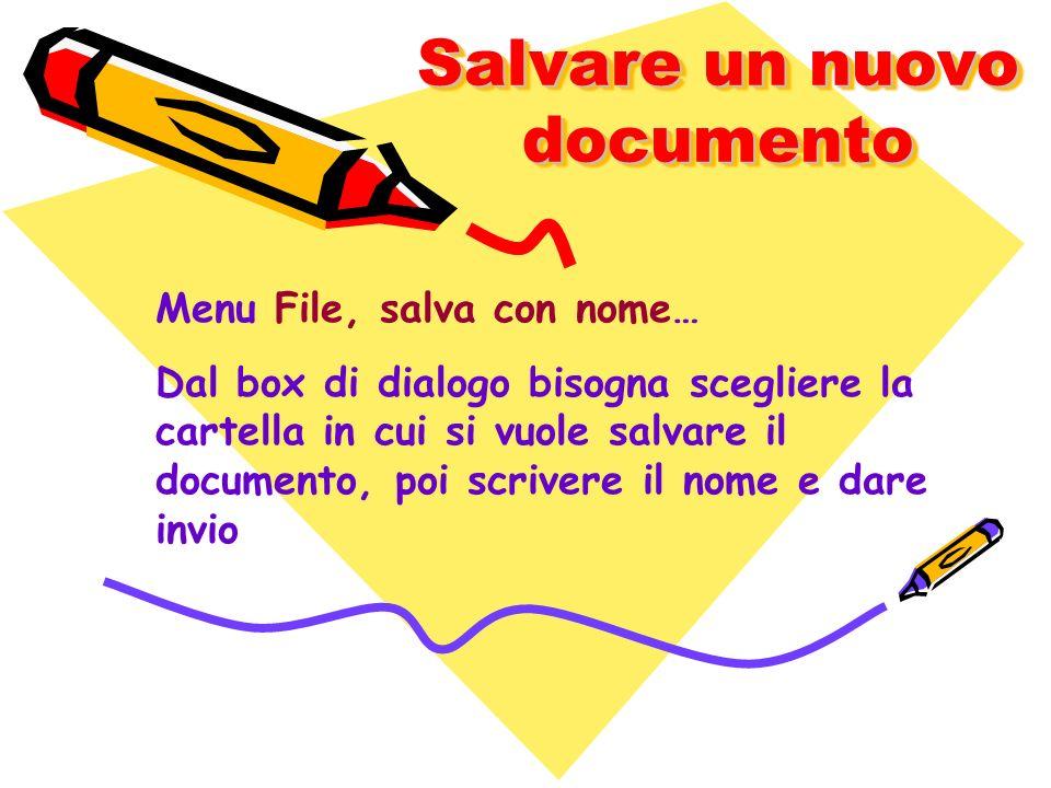 Salvare un nuovo documento Menu File, salva con nome… Dal box di dialogo bisogna scegliere la cartella in cui si vuole salvare il documento, poi scriv