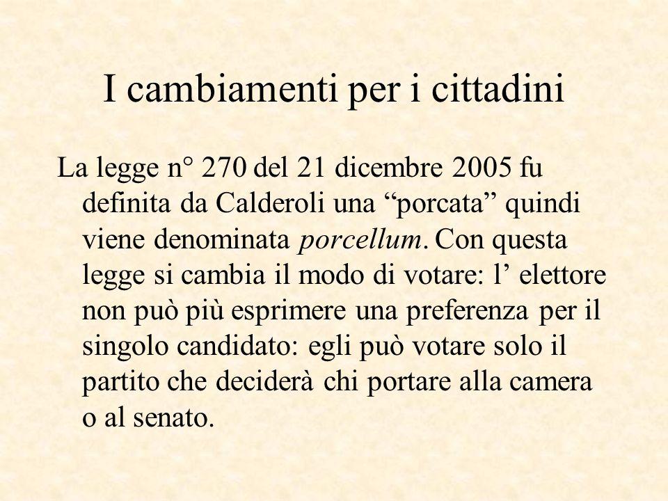 I cambiamenti per i cittadini La legge n° 270 del 21 dicembre 2005 fu definita da Calderoli una porcata quindi viene denominata porcellum.