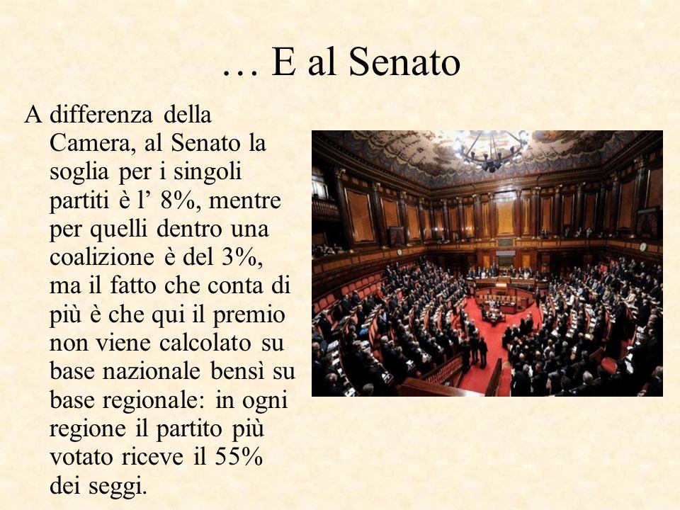 Alla Camera… Lo schieramento che risulta vincitore delle elezioni ha diritto ad un premio di maggioranza nazionale che garantisce 340 posti alla Camer