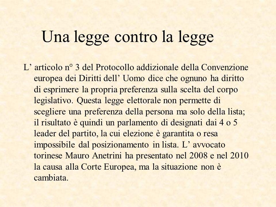 Una legge contro la legge L articolo n° 3 del Protocollo addizionale della Convenzione europea dei Diritti dell Uomo dice che ognuno ha diritto di esprimere la propria preferenza sulla scelta del corpo legislativo.