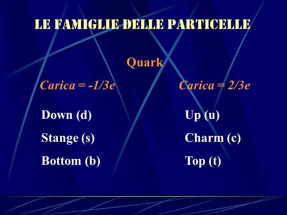 Le famiglie delle particelle Quark Carica = -1/3e Carica = 2/3e Down (d)Up (u) Stange (s)Charm (c) Bottom (b)Top (t)